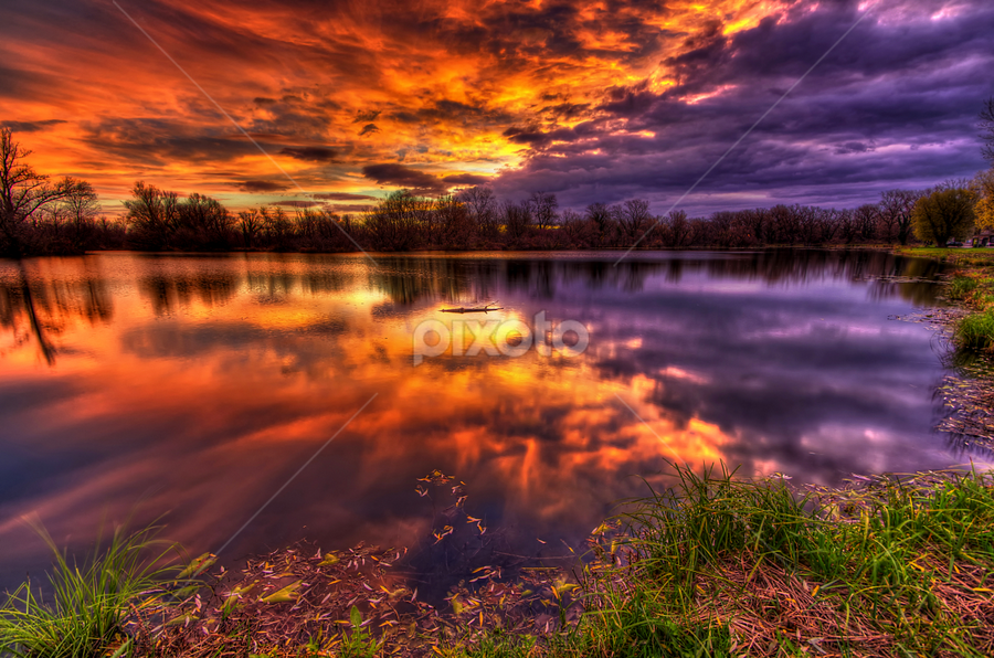 Dawn by Boris Frković - Landscapes Waterscapes ( clouds, water, dawn, red, sky, fall, lake, dusk )