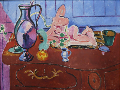 "henri-matisse-pink-statuette.jpg -  Henri Matisse, ""Pink Statuette and Pitcher on a Red Chest of Drawers,"" 1910, oil on canvas, at the Hermitage at St. Petersburg, Russia."