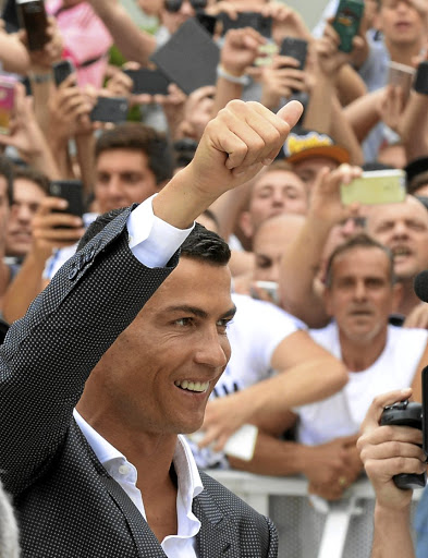 Ronaldo arrives in Turin.Picture: REUTERS