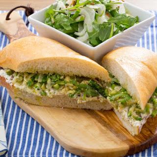 Asparagus & Ricotta Sandwich with Arugula, Almond & Fennel Salad