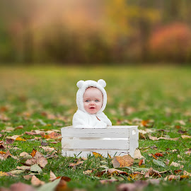 Charlie Bear by Jenny Hammer - Babies & Children Babies ( fall, leaves, baby, box, crate, cute, boy, colors, adorable )