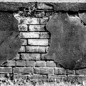 the cemetery wall by Bill Wagner - Black & White Abstract ( old, black and white, texture, bricks, wall, decay )