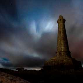 Carn Brea's Basset monument by Aaron Nappin - Buildings & Architecture Statues & Monuments ( redruth, rock, cornish, landscape, camborne, cornwall, heritage, history, landmark, sky, carn brea, monument, long exposure, night, starry )