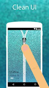 Green Glitter Zip Locker zipper theme Screen Lock - náhled