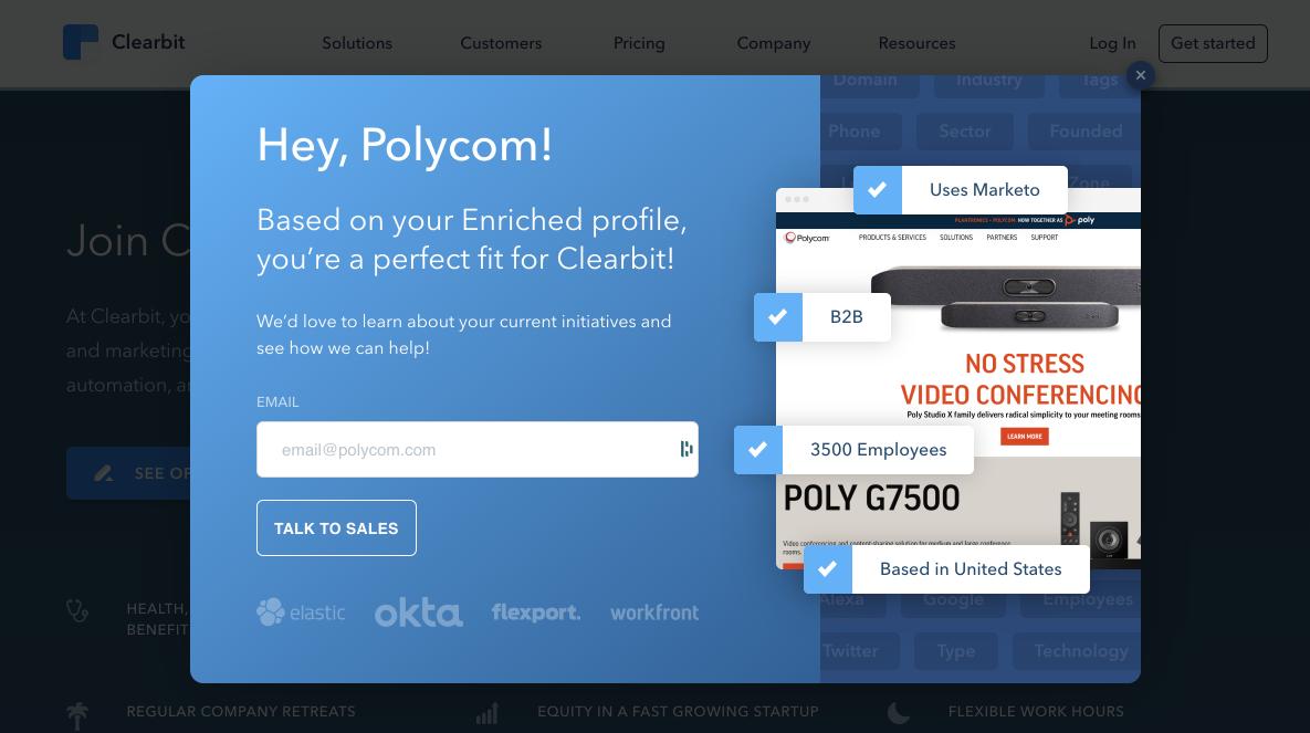 общение с клиентами на сайте  Polycom персонализированный пример
