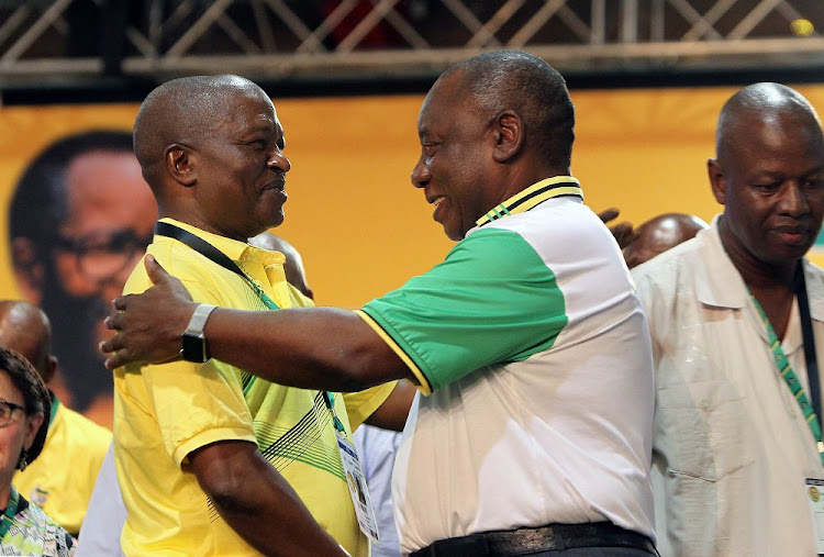 David Mabuza and Cyril Ramaphosa at the 54th ANC national elective conference in Johannesburg. Picture: SIMPHIWE NKWALI