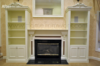 Photo: (After) Family Room Mantle with Corbels and Bookcases with ornament top Royersford, PA