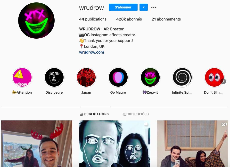 Wrudrow IG filters AR creator