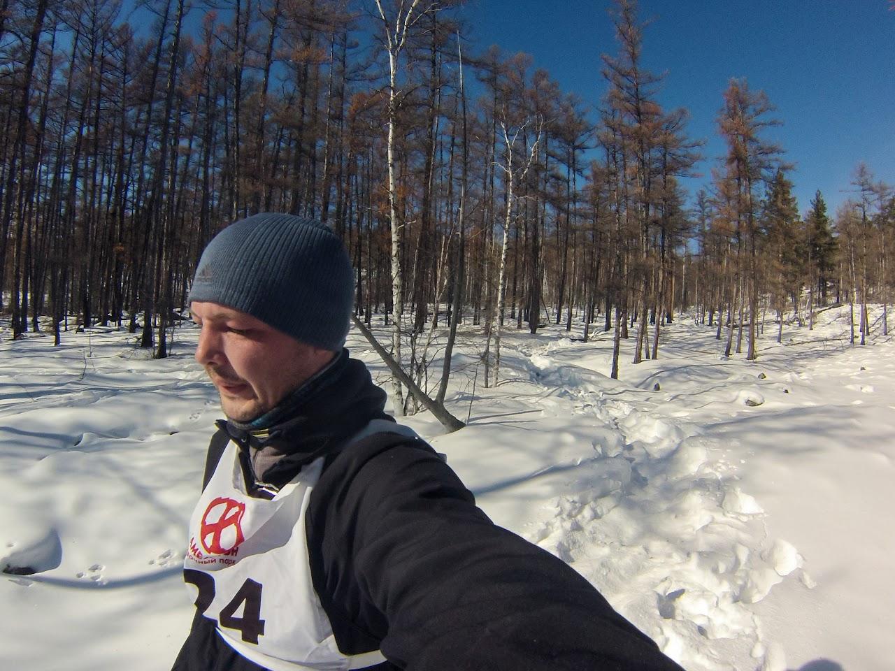 Обратный путь через заснеженный лес
