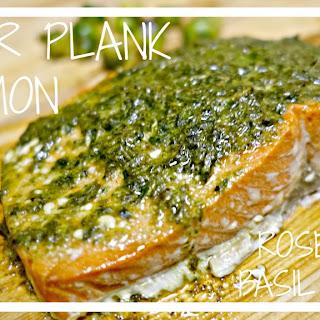 Cedar Plank Salmon with Rosemary Basil Pesto.