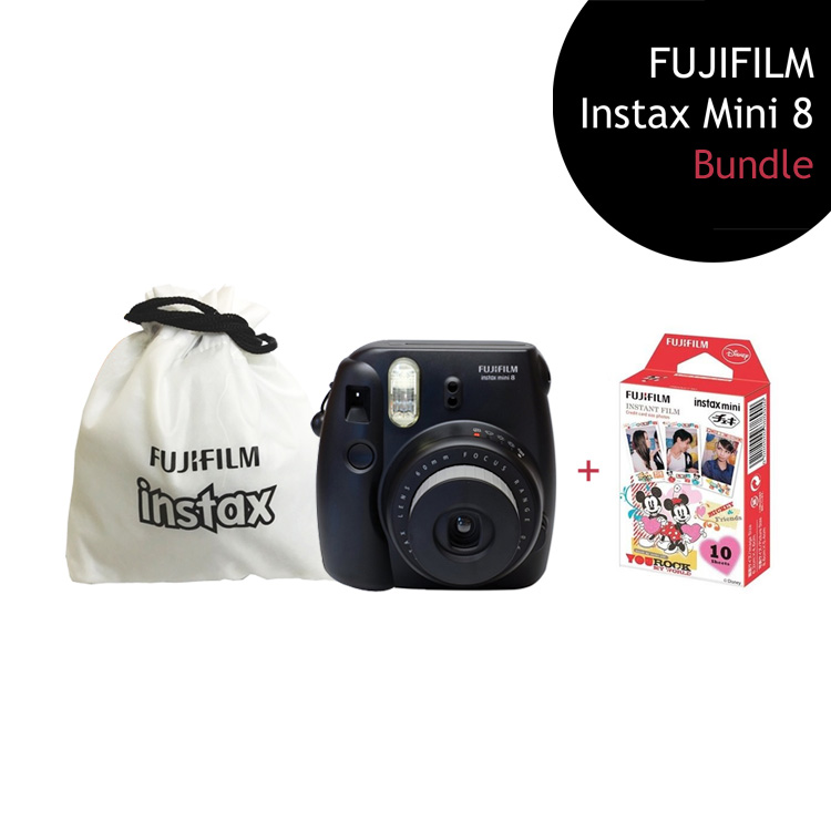 [Bundle] FUJIFILM Instax Mini 8 Camera (Black) + Mickey Mouse Film Pack + Instax Pouch by My Pocket Net Sdn Bhd