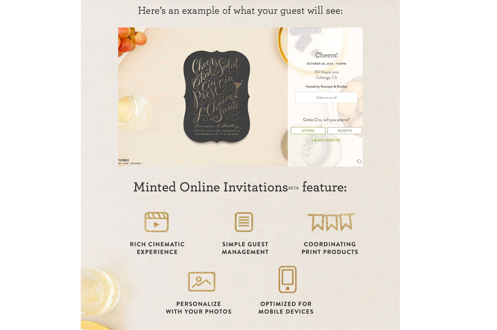 Photo of Minted online invitations and its features