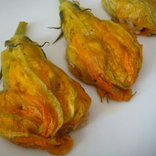 Stuffed Pumpkin flowers with vegetables and cheese