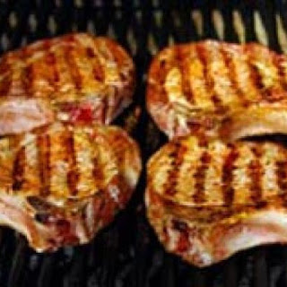 Grilled Pork Chops with Chive Cream