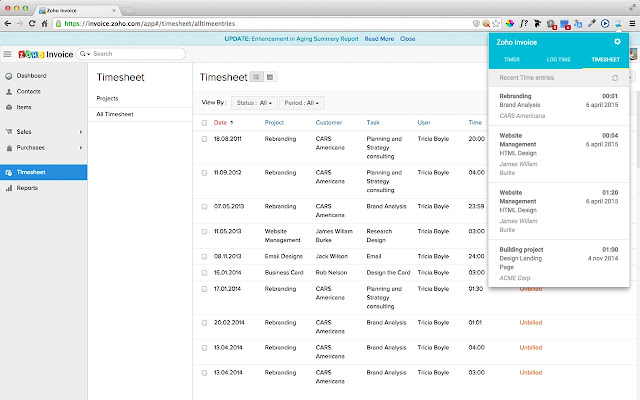 Zoho Invoice Timer - Chrome Web Store