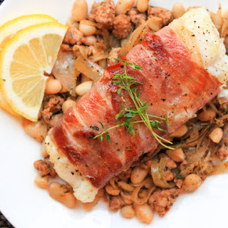 Prosciutto-Wrapped Cod with Chorizo and Cannellini Beans Recipe