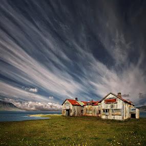 Old Hospital by Þorsteinn H. Ingibergsson - Landscapes Cloud Formations ( clouds, iceland, sky, nature, structor, landscape, abandoned )