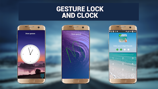 Smart Gesture Lock Screen and beautiful clock - náhled