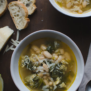 Escarole and Cannellini Bean Soup in Parmesan Broth