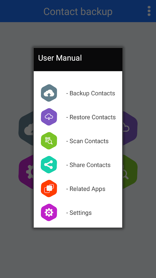 how to create contact backup in android