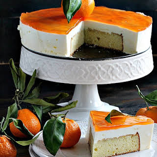 Clementine Mousse Cake with Peach Jelly.