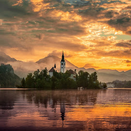 bled lake by Zoran Stegnjaić - Landscapes Sunsets & Sunrises ( landscapes, slovenia, sunrise, mountains, color, island, bled, church, isolated, clouds, colors, morning, cloudy, mountain, view, sunrises, peace, cloudscape, lake, landscape )