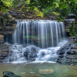 PINION FALLS by Dana Johnson - Landscapes Waterscapes ( waterfalls, falls, creek, waterscape, cascade, landscape, summer )