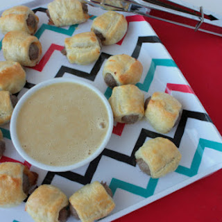 Puff Pastry Sausage Bites with Maple Mustard Dipping Sauce.