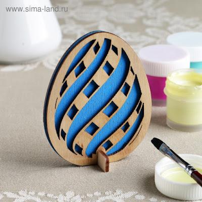 "Заготовка для творчества ""Яйцо. Волна"" двойная, синяя 9х7 см"