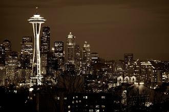 Photo: Seattle skyline at dusk, B&W