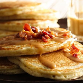 Bacon Pancakes with Maple-Peanut Butter Syrup.