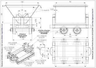 Photo: Le plan du wagonnet; les roues peuvent être usinées ou achetées.