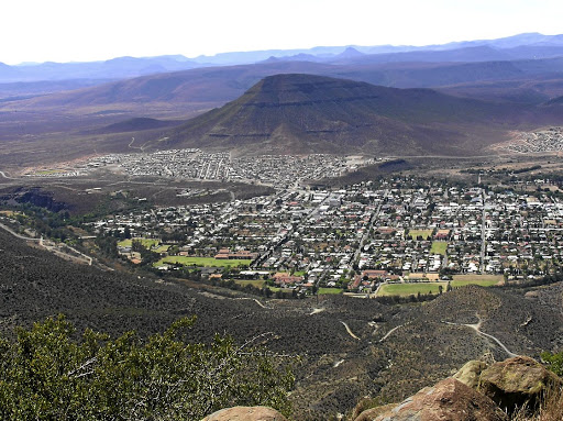 Hard sell: A view of Graaff-Reinet, birth town of PAC founder Robert Sobukwe, from the Valley of Desolation.  Picture: WINFRIED BRUENKEN