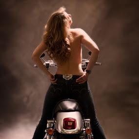 Maryanne and her beloved bike by Bill  Brokaw - People Fashion ( motorcycles, women, brokaw )