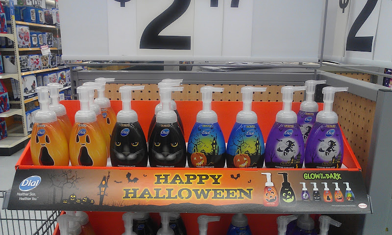 Photo: On the way to the Personal Care section of Walmart I found these fun Dial soap dispensers. Happy Halloween - Glow in the Dark - foam soap. Spooky!! :)