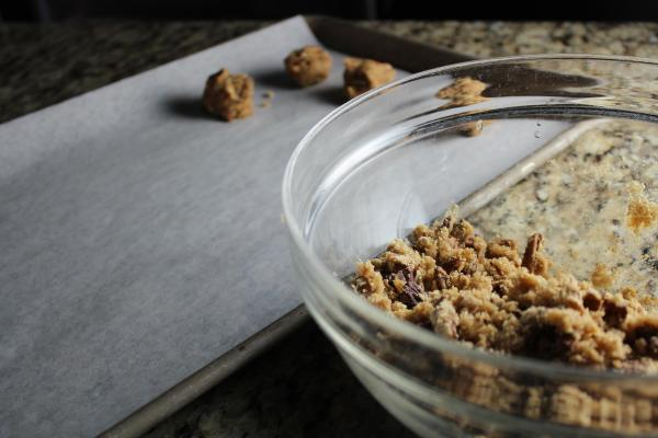 Form balls by scooping a tablespoon size amount of mixture and rolling in hands...