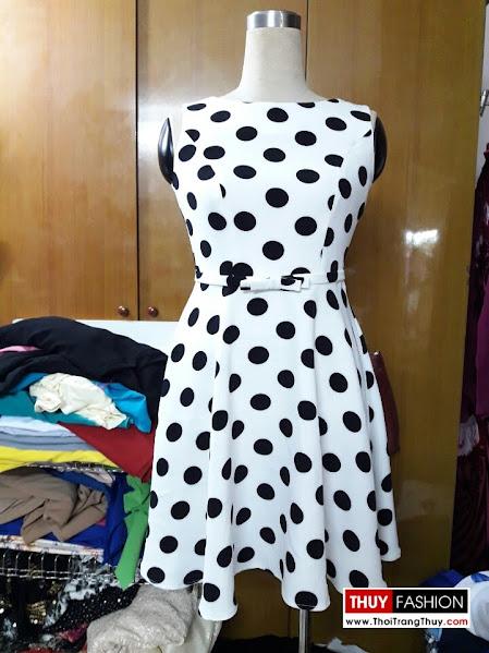 Váy xoè liền chấm bị trắng đen V283 thời trang thuỷ