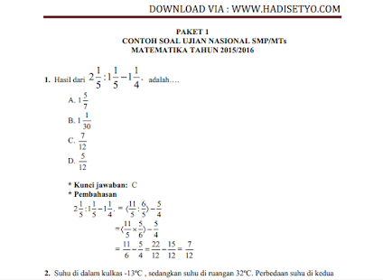 Soal Siap Un Matematika Smp Android Apps On Google Play