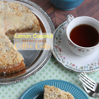 Lighter Lemon Coconut Streusel Coffee Cake