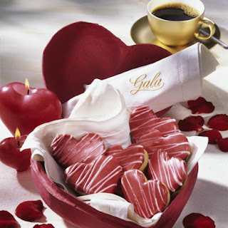 Iced Heart Cookies with Coffee Nougat Filling.
