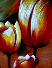 Photo: 333, Нетронина Наталья, Триптих -Тюльпаны (2), масло, бархат (живопись по бархату), 40х30 см,,