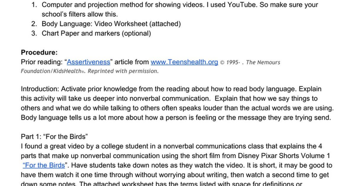 Body Language Lesson Plan Handout Google Docs