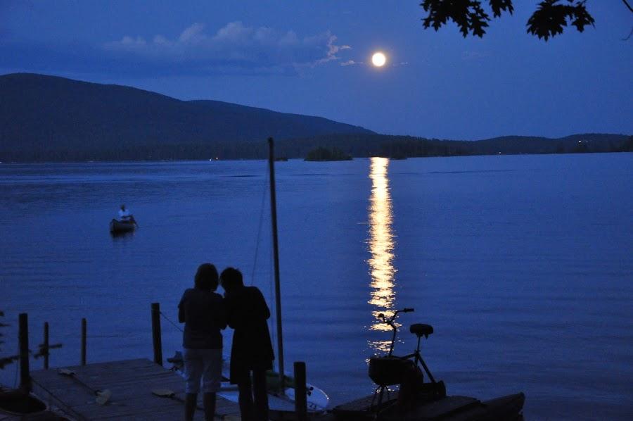 Canoe by moonlight by Jonathan White - Landscapes Sunsets & Sunrises ( water, sunset, lake, shadows, moonlight )