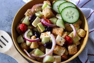 Roasted Grape Tomato Panzanella Salad