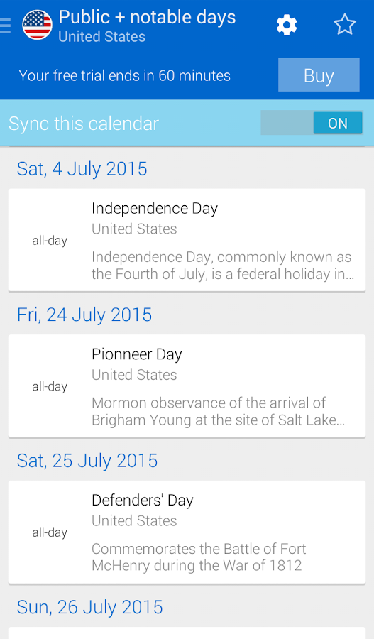 Bank Holiday Calendars- screenshot