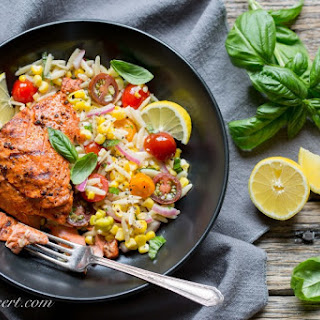 Grilled Salmon & Orzo Corn Salad