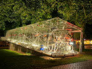 Photo: The Tschumi Pavilion by night - installation is activated and fully lit up