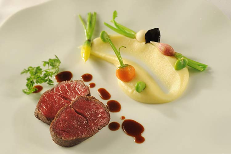Japanese Wagyu Beef with Garlic-Potato Purée served on Disney Dream and Disney Fantasy.