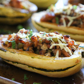 Stuffed Delicata Squash with Chicken Sausage-Mushroom Stuffing.