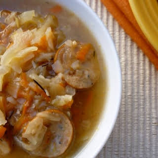 Slow Cooker Cabbage Soup with Chicken Apple Sausage.